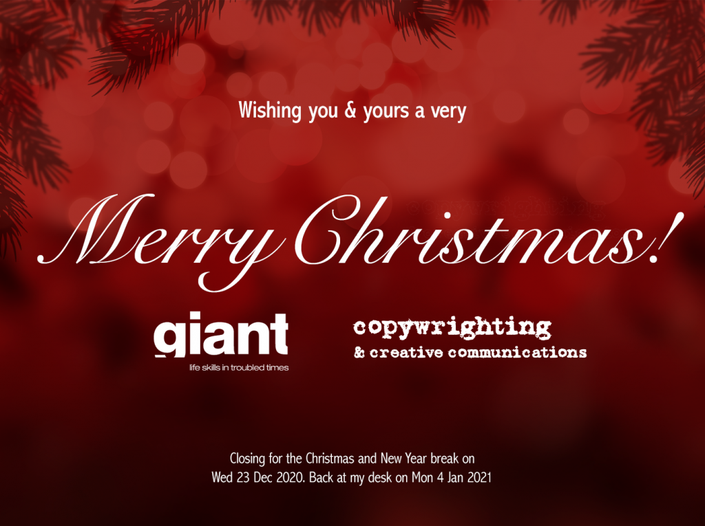 Christmas greeting; white text on red background